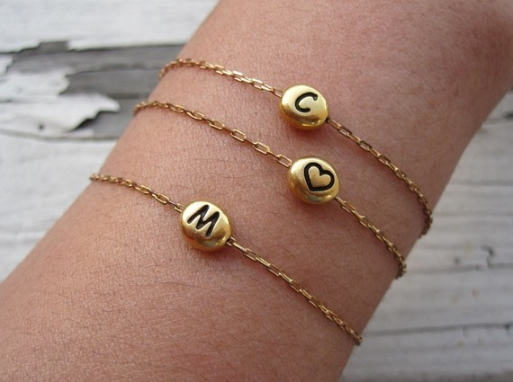 initial bracelets for mom by charlieandmarcelle