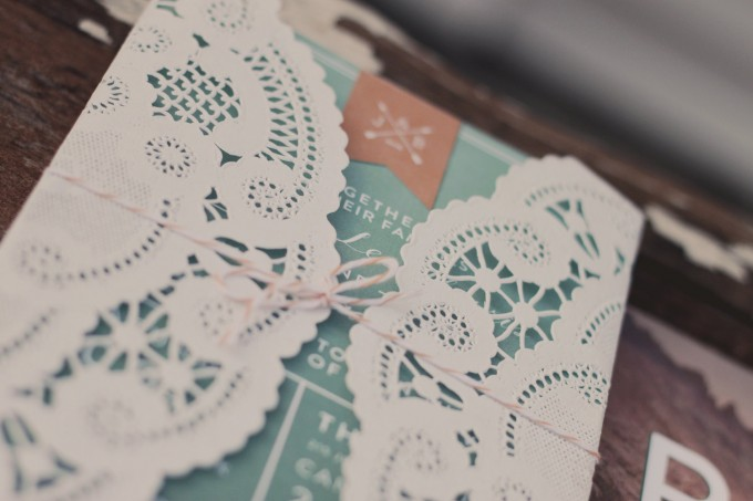 diy lace wrapped doily invitations | Lace Invitation Sleeve