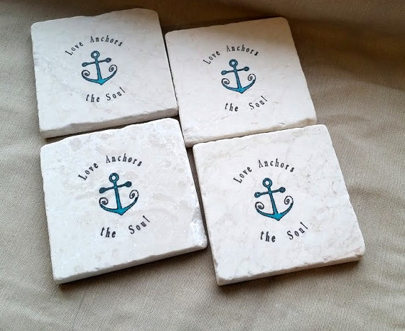 love anchors wedding coaster favors