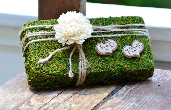 moss ring bearer pillow by pinensign | 41 Beautiful Rustic Ring Pillows on Etsy | https://emmalinebride.com/rustic/ring-pillows-etsy-weddings/