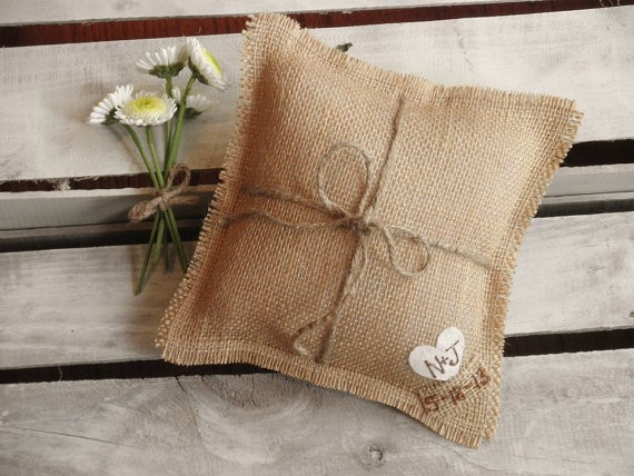 natural burlap ring pillow by theartsyhippie | 41 Beautiful Rustic Ring Pillows on Etsy | https://emmalinebride.com/rustic/ring-pillows-etsy-weddings/