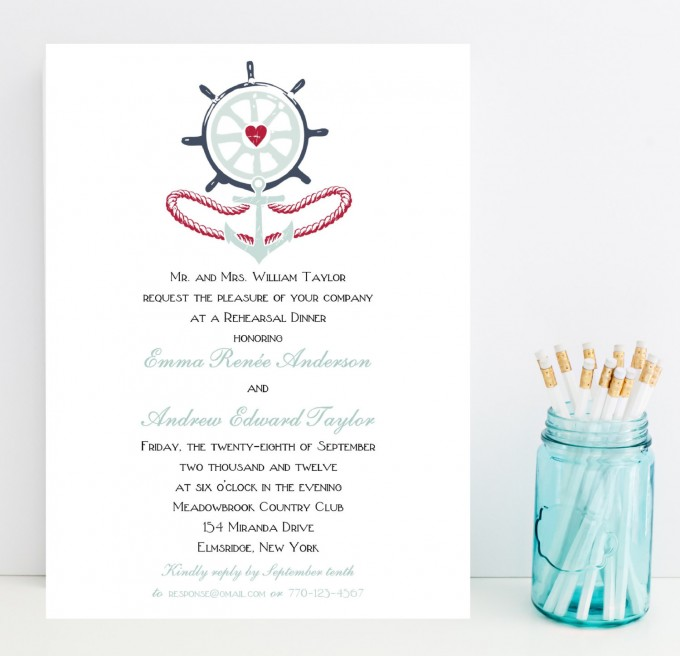 nautical rehearsal dinner invitations