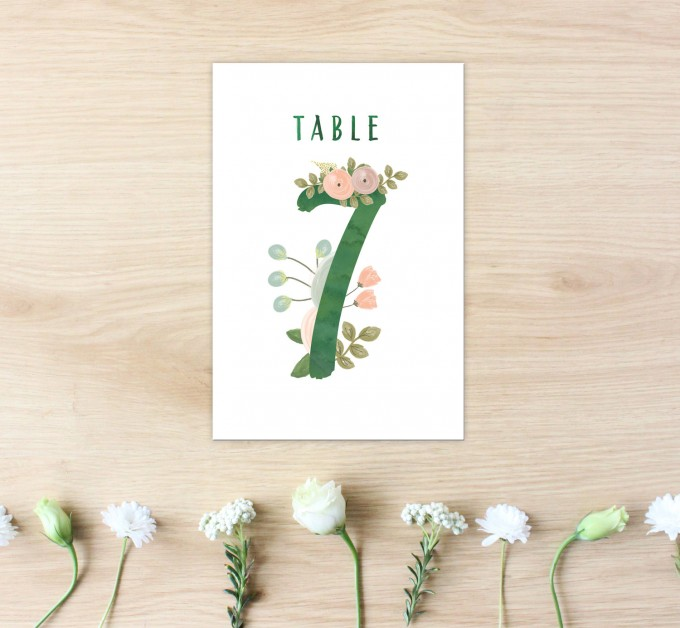 printable wedding table numbers for weddings | http://emmalinebride.com/wedding/printable-table-numbers-floral/