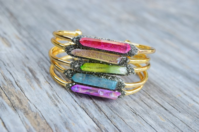 raw crystal bangle bracelets
