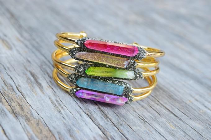 raw crystal bangle bracelets
