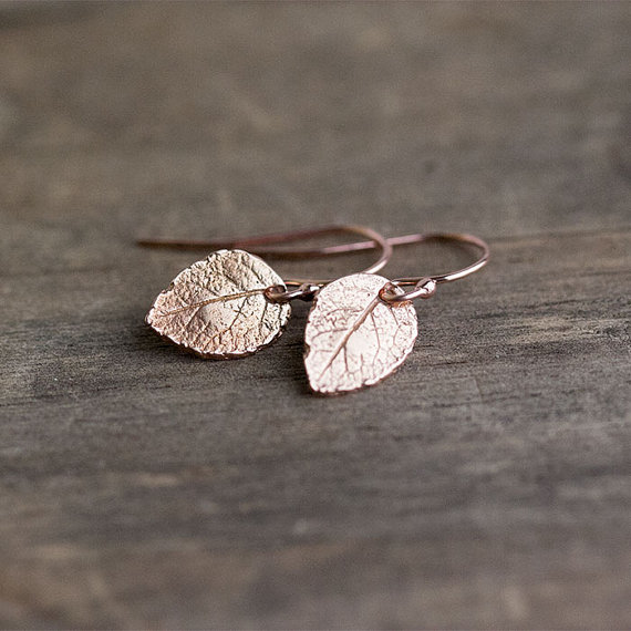rose gold leaf earrings by burnish | unique gifts for mom