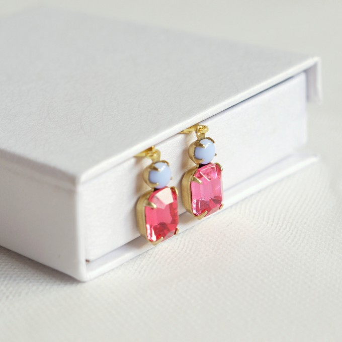 rose pink crystal earrings by bonbridal | unique gifts for mom