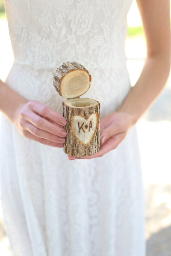 rustic log wedding ring bearer pillow box by braggingsbags | 41 Beautiful Rustic Ring Pillows on Etsy | https://emmalinebride.com/rustic/ring-pillows-etsy-weddings/
