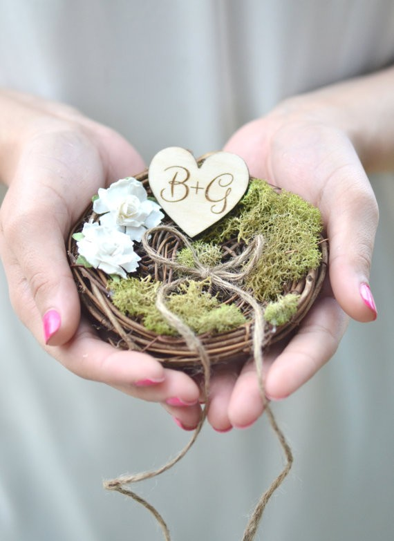 rustic ring pillow nest | 41 Beautiful Rustic Ring Pillows Etsy | https://emmalinebride.com/rustic/ring-pillows-etsy-weddings/