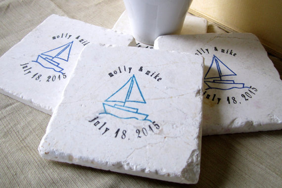 sailboat wedding coaster favors
