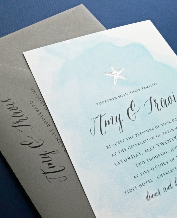 beach wedding invitations by cricket printing | https://emmalinebride.com/beach/beach-wedding-invitations/