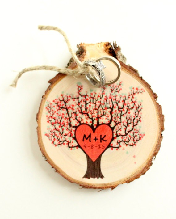 tree with initials wood slice ring bearer pillow by littleweeshop | 41 Beautiful Rustic Ring Pillows Etsy | https://emmalinebride.com/rustic/ring-pillows-etsy-weddings/