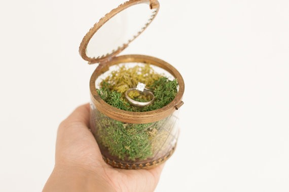 vintage glass ring bearer box with moss by lepetitmariage | 41 Beautiful Rustic Ring Pillows Etsy | https://emmalinebride.com/rustic/ring-pillows-etsy-weddings/
