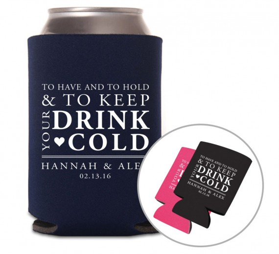 Wedding Drink Koozies | by Grand Design Studio | https://emmalinebride.com/wedding/drink-koozies/