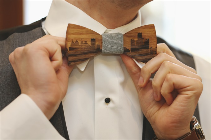 wood_bowtie_groom_buy_detroit Downtown Detroit Wedding - https://emmalinebride.com/real-weddings/a-beautiful-downtown-detroit-wedding-nick-jeannine/ | Michigan wedding photographer - The Camera Chick