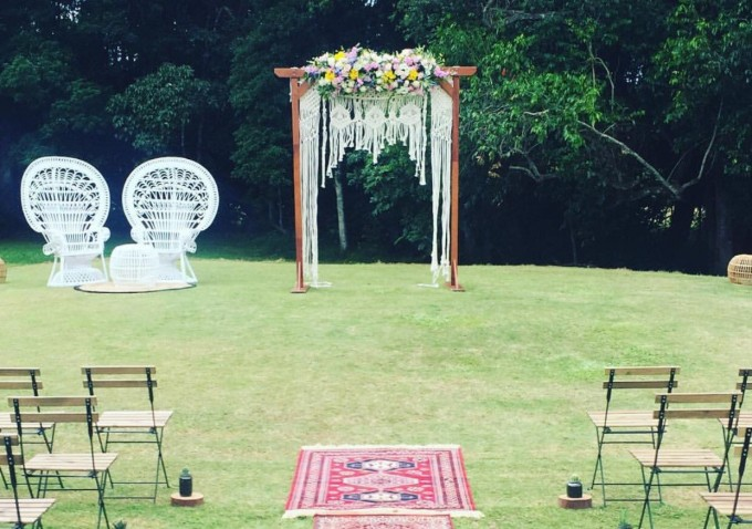 arch with macrame by NeonKnotDesigns | Where to Buy Wedding Arches | http://emmalinebride.com/ceremony/arches-weddings/