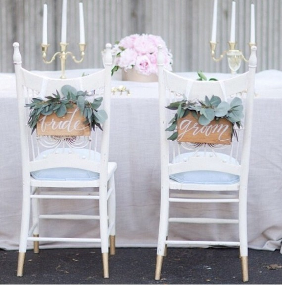 bride groom chair signs