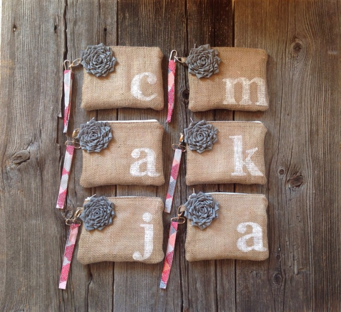 bridesmaid wristlets in burlap with initial