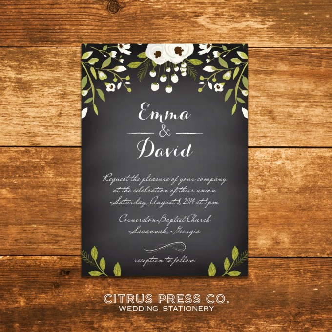 Chalkboard Invitations for Weddings | By Citrus Press Co. | https://emmalinebride.com/wedding/chalkboard-ceremony-program/ ‎