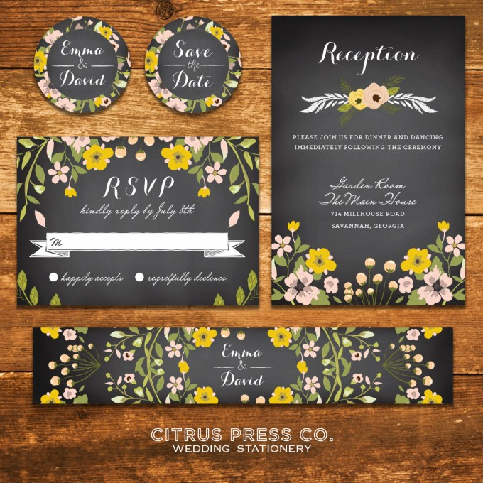Chalkboard Ceremony Program & Invitations for Weddings | By Citrus Press Co. | https://emmalinebride.com/wedding/chalkboard-ceremony-program/ ‎