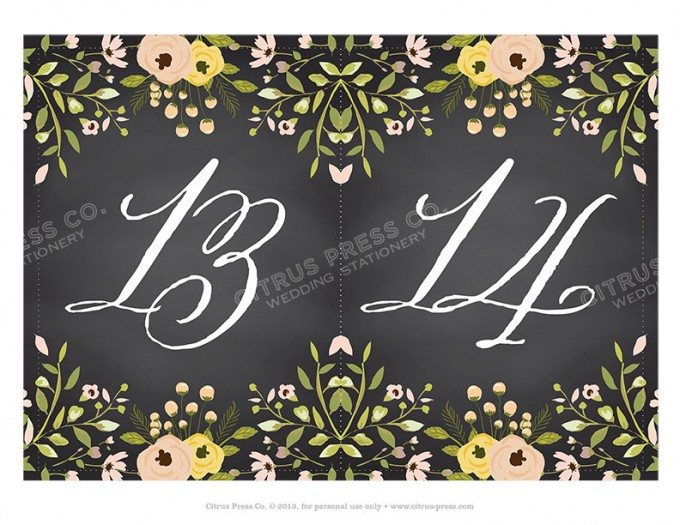 Chalkboard Table Numbers for Weddings | By Citrus Press Co. | https://emmalinebride.com/wedding/chalkboard-ceremony-program/ ‎