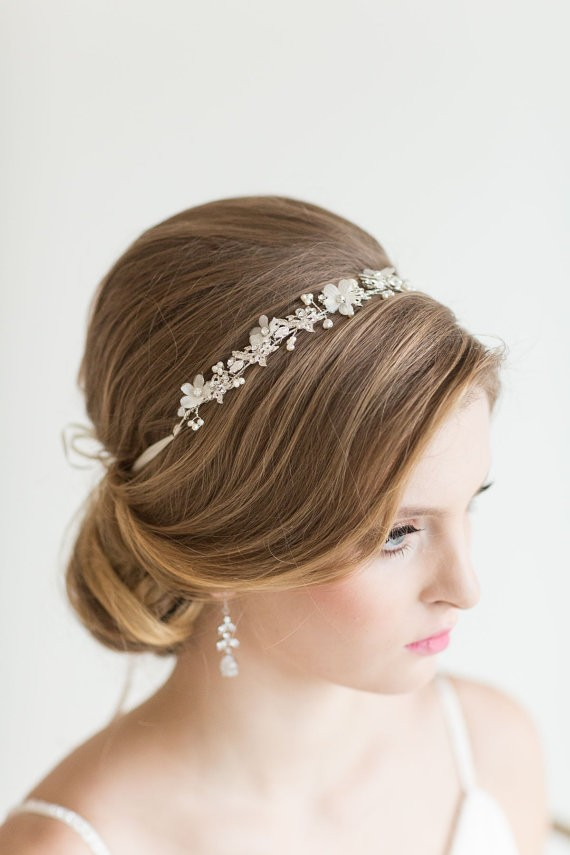 crystal headband | 50+ Best Bridal Hairstyles Without Veil | http://emmalinebride.com/bride/best-bridal-hairstyles