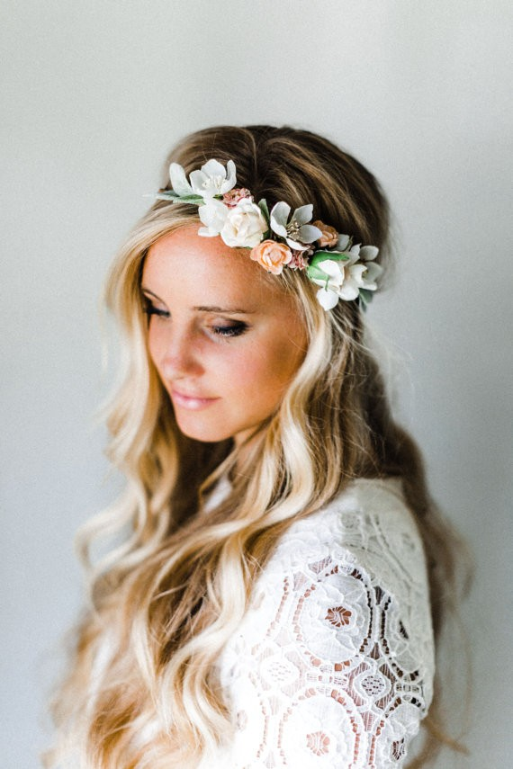 curly hair down with hair wreath | 50+ Best Bridal Hairstyles Without Veil | http://emmalinebride.com/bride/best-bridal-hairstyles