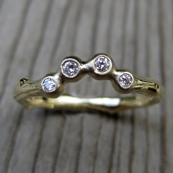 diamond arc twig wedding band | rustic wedding rings by Kristin Coffin Jewelry https://emmalinebride.com/rustic/wedding-rings/ ‎