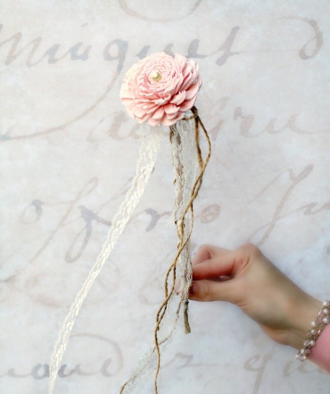 flower girl wand pink