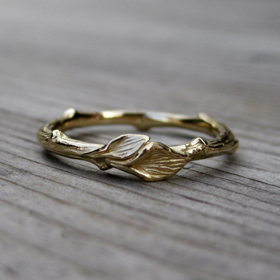 gold rustic wedding band with leaves | rustic wedding rings by Kristin Coffin Jewelry https://emmalinebride.com/rustic/wedding-rings/