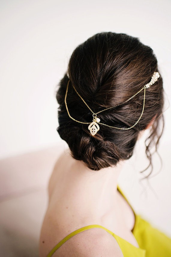 hair pulled back with bridal hair chain | 50+ Best Bridal Hairstyles Without Veil | http://emmalinebride.com/bride/best-bridal-hairstyles