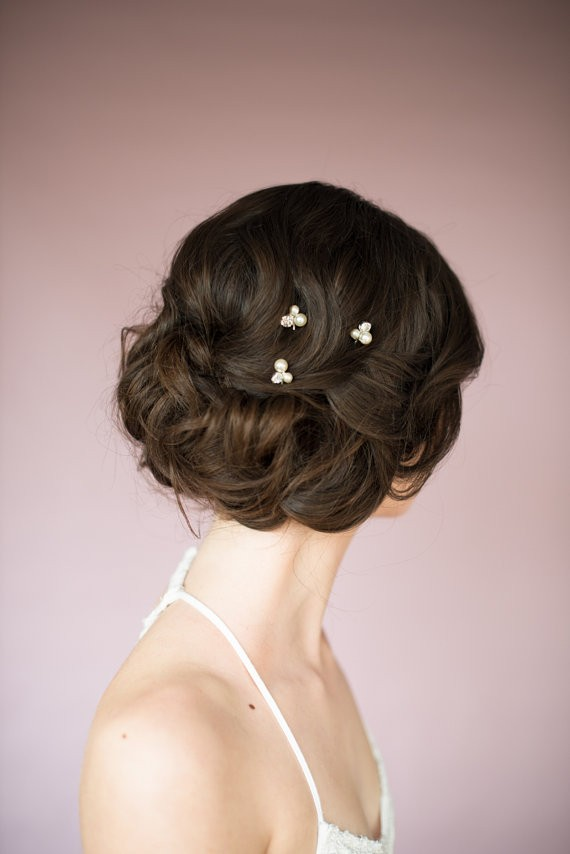 hair with pins back | 50+ Best Bridal Hairstyles Without Veil | http://emmalinebride.com/bride/best-bridal-hairstyles