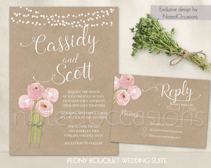 kraft and peony free printable wedding invitations | free printable wedding invitations http://emmalinebride.com/2016-giveaway/free-printable-wedding-invitations/