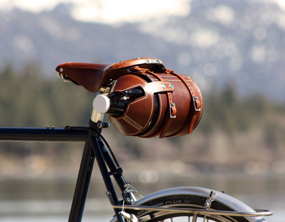 leather beer growler holder for bicycle