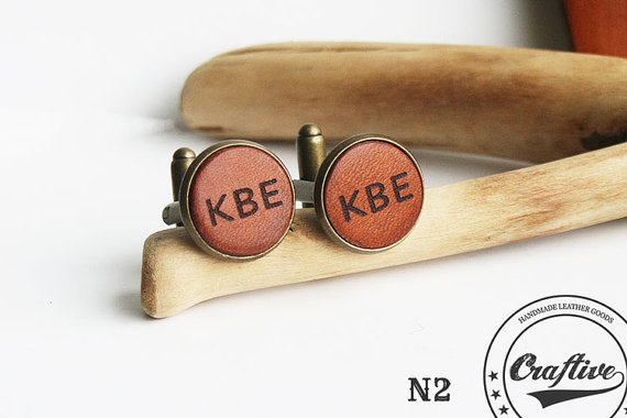 leather cufflinks by craftiveleather