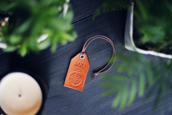 leather luggage tag by rsvphandcrafted