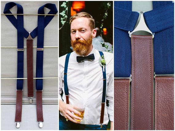 leather navy suspenders by bymaryjanelane | via 40+ Best Leather Groomsmen Gifts for Weddings | https://emmalinebride.com/gifts/leather-groomsmen-gifts/