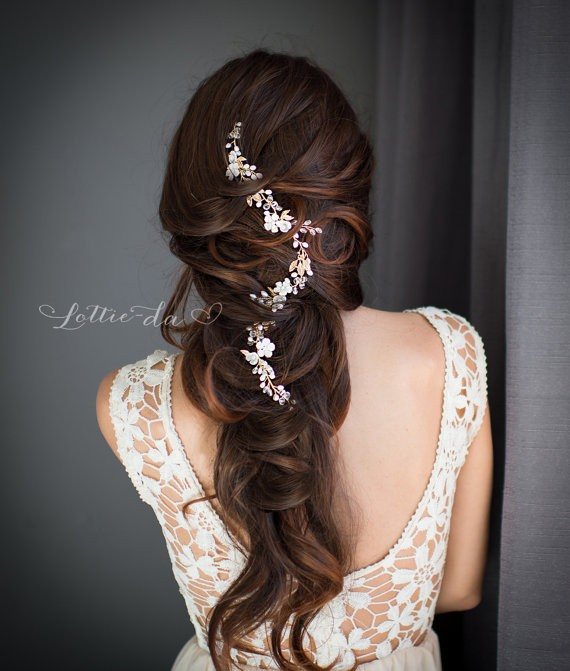 long hair vine | 50+ Best Bridal Hairstyles Without Veil | http://emmalinebride.com/bride/best-bridal-hairstyles