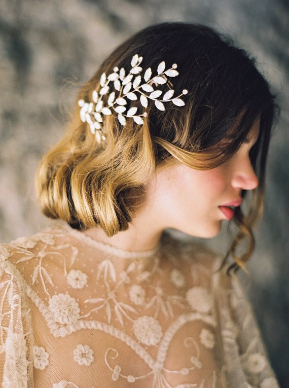opal hair accessory | 50+ Best Bridal Hairstyles Without Veil | http://emmalinebride.com/bride/best-bridal-hairstyles