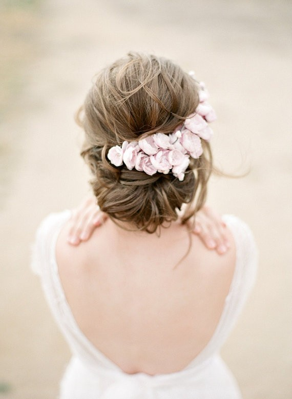 pink floral headpiece | 50+ Best Bridal Hairstyles Without Veil | http://emmalinebride.com/bride/best-bridal-hairstyles
