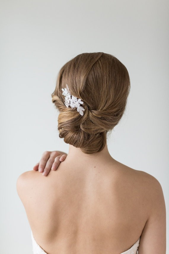 pulled back chignon | 50+ Best Bridal Hairstyles Without Veil | http://emmalinebride.com/bride/best-bridal-hairstyles
