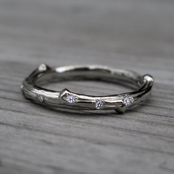 scattered diamond twig band in white gold | rustic wedding rings by Kristin Coffin Jewelry https://emmalinebride.com/rustic/wedding-rings/