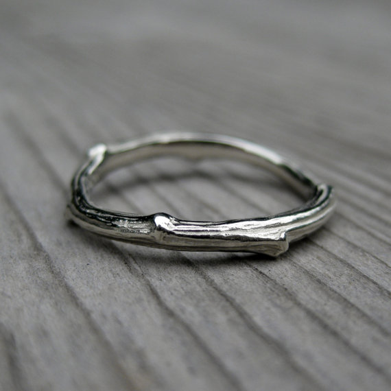 twig wedding ring in white gold | rustic wedding rings by Kristin Coffin Jewelry https://emmalinebride.com/rustic/wedding-rings/