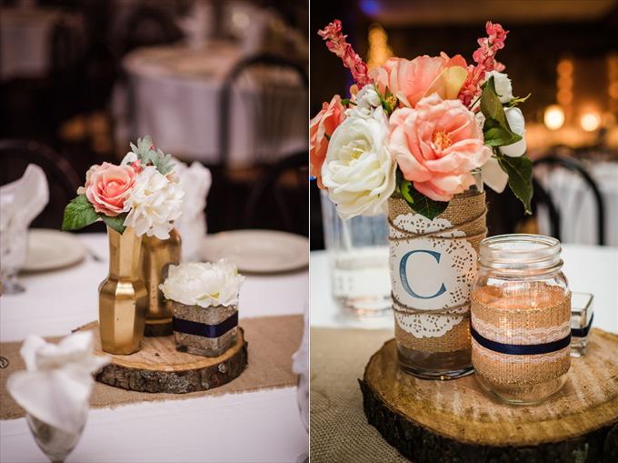 wedding_centerpieces_gold_mason_jars_sliced_logs
