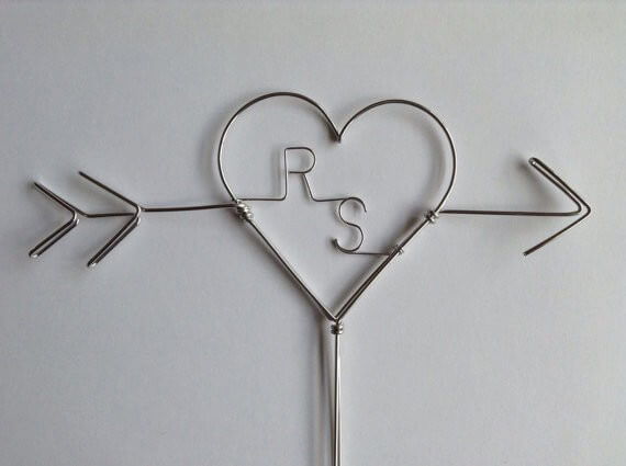 arrow and initials wire cake toppers
