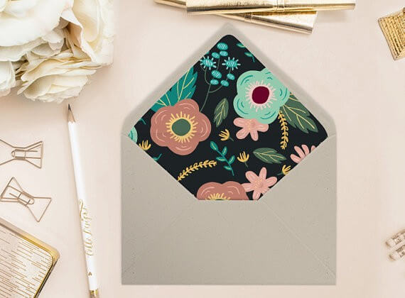 black floral printable envelope liners