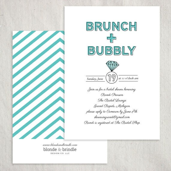 brunch and bubbly ring theme bridal shower invitations by BlondeandBrindleLLC | via 21 Totally Fun Ring Themed Bridal Shower Ideas → https://emmalinebride.com/planning/ring-themed-bridal-shower/