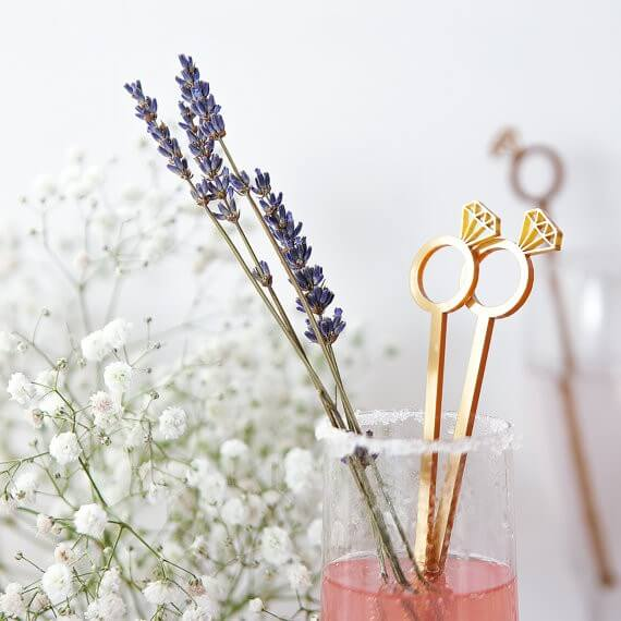 cocktail stirrers by CloudsandCurrents | via 21 Totally Fun Ring Themed Bridal Shower Ideas → https://emmalinebride.com/planning/ring-themed-bridal-shower/