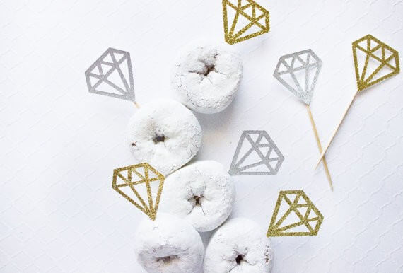 diamond donut toppers by paperlypress | via 21 Totally Fun Ring Themed Bridal Shower Ideas → https://emmalinebride.com/planning/ring-themed-bridal-shower/