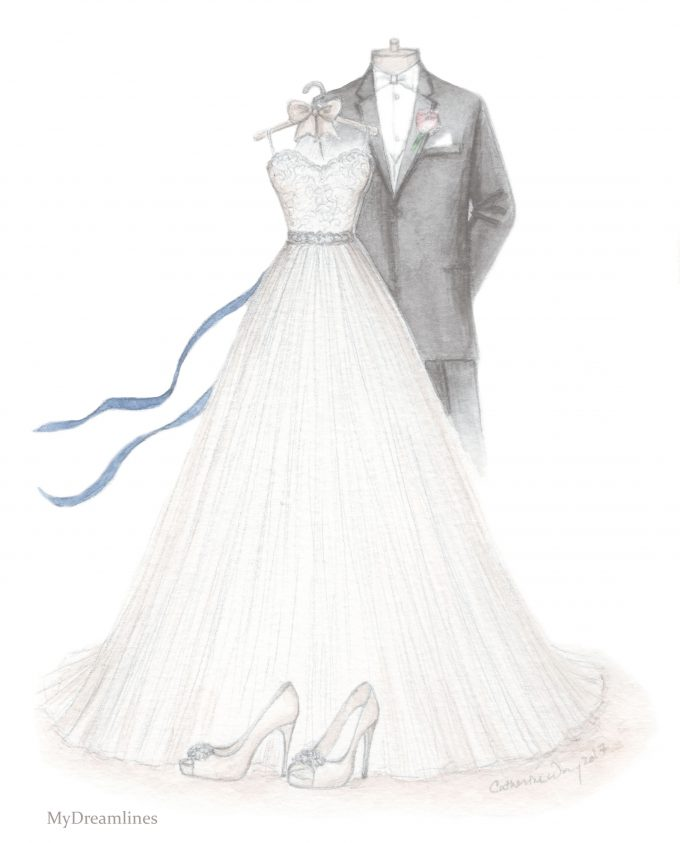 wedding dress and suit sketch | via 15 Best Gifts for the Bride from Groom + Wedding Gifts for Bride from Groom